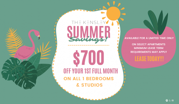 $700 off your 1st full month on all 1 bedroom and studio apartments